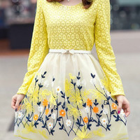 Yellow Floral Print Long Sleeve Organza Dress