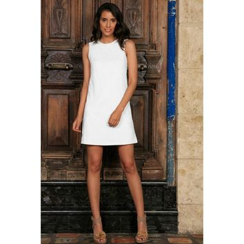 White Stretchy Lace Sleeveless Fancy Party Shift Short Dress - Women