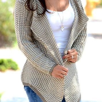 Khaki Plain Irregular Turndown Collar Cardigan Sweater