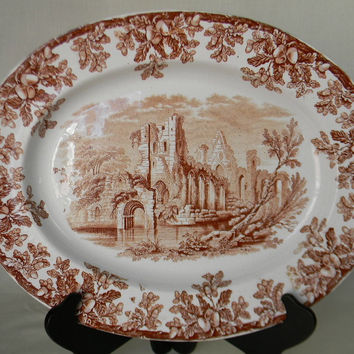 Victorian Serving Platter Copeland Spode Antique China Ruins Brown Transferware Platter Oak Leaves Acorns Abbey Ruins