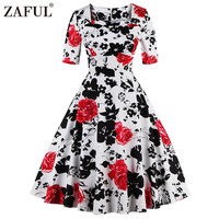 ZAFUL plus size Summer Vintage Women Dress Retro Robe feminino Rockabilly Print Short Sleeve Party Dresses Short Tunic Vestidos