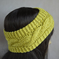Yellow - Green Headband, Neon Hair Accessories, Hand Knit Cable Ear Warmer, Soft and Warm Headband, Wool and Acrylic Blend
