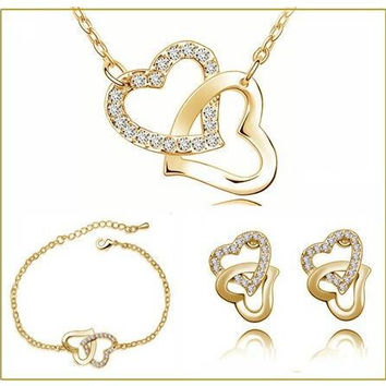 Yellow hot popular double heart locket charm birthday AAAA+ Czech rhinestones fashion necklace earring Jewelry Set
