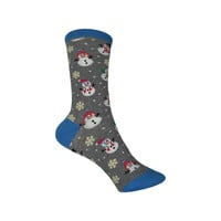 Let It Snow Crew Socks in Heather Gray