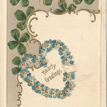 Blue Forget Me Nots Heart shaped Wreath & Green Shamrocks The Language of Flowers Vintage Postcard