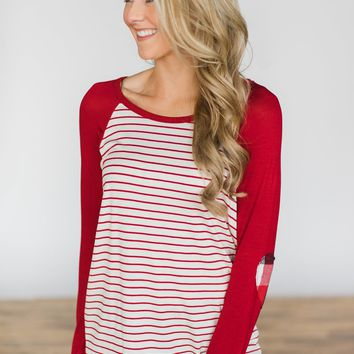 Red Hot Plaid Elbow Patch Top