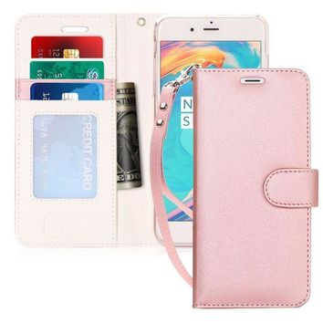 DCCKRQ5 iPhone 6S Plus Case, iPhone 6 Plus Case, FYY [Kickstand Feature] Flip Folio Leather Wallet Case with ID&Credit Card Pockets for Apple iPhone 6/6S Plus (5.5 inch) Rose Gold