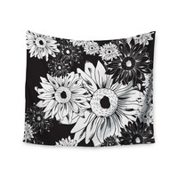 "Laura Escalante ""Midnight Florals"" Black Sunflower Wall Tapestry"