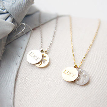 Luck Necklace, Four Leaf Clover Necklace, Fortune Necklace, Lucky Necklace, Korean Necklace, Girls Gift