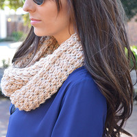 Chilly Day Infinity Scarf: Blush/Tan | Hope's