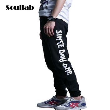 SOULLAB letter print mens bottoms jogger pants slim fit skinny sweatpants sweat 5XL boys urban trousers cotton breathable brand