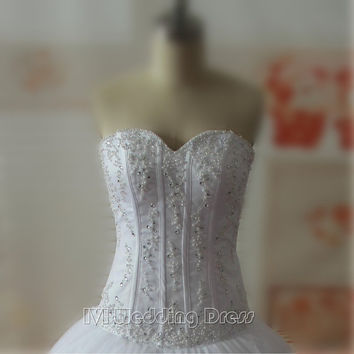 Real Samples Corset Top Wedding Dresses with Pearls Sweetheart Wedding Gowns Floor Length Bridal Gowns Custom Made Bridal Dress