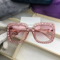 ONETOW New Authentic Gucci Sunglasses GG148S Women's Pink Oversized Square Bling