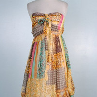 Multicolored Patchwork Chiffon Tube Mini Sun Dress - SMALL