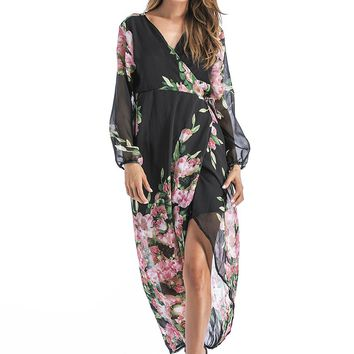 Black Floral Print Chiffon Dress