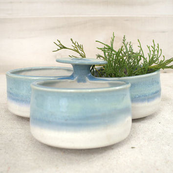 Blue Ombre' Studio Pottery Condiment Jar, Vintage Pottery Planter Trio