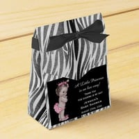 Vintage Princess Baby Shower Zebra Pattern Favor Boxes