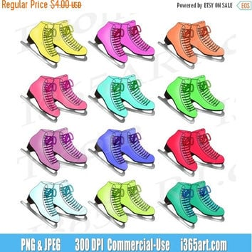 50% off sale Ice Skating Clipart Clip art, Ice Skates, Winter clipart, Digital, Scrapbooking, Invitations, Graphics, PNG, Commercial-Use