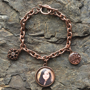 Copper Photo Pendant Bracelet - Photo Charm Bracelet - Custom Photo Charm Bracelet - Picture Charm Bracelet - Custom Gift For Momo