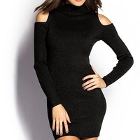 Whitney Black Ribbed Long Sleeve Cold Shoulder Short Knit Dress