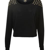 Parisian Black Studded Crop Jumper