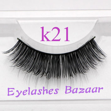 3pcs/lot k21 100% Real  human hair eyelashes