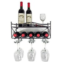 Mango Steam Wall-mounted Wine Rack with Shelf and Stemware Glass Holder