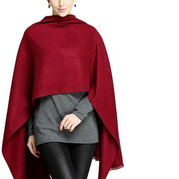 Autumn Outwear Scarf Women Red Winter Scarf  Knitted Soft Cashmere Shawl Black Tassel Women Wrap