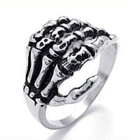 Titanium Steel Skeleton Claw Ring by Julyjoy