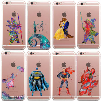 Beauty of the beast Marvel Star Wars Deadpool Watercolor Art Soft Clear TPU Phone Case Cover For iPhone SE 5s 6S 6 Plus 7 7Plus