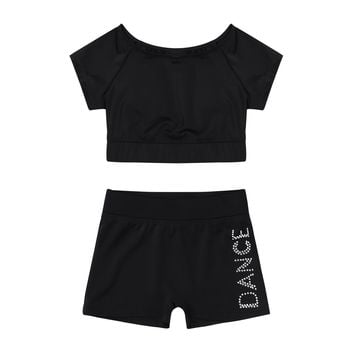 2Pcs Kids Jazz Dance Outfit Costume Girls Short Sleeves Tank Top and Bottoms Children Sportswear Ballet Tankini Fashion Clothes