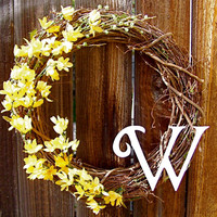 "Personalized 18"" Wreath, Front Door Decor, Summer Wreath, Etsy Wreath, Spring Wreath"
