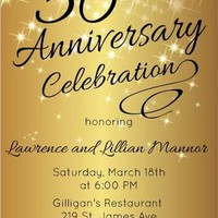 Sparkly Gold Anniversary Invitation