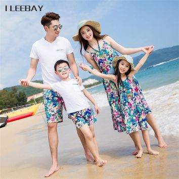 2017 Bohemian Style Mother Daughter Beach Dresses Dad/Boy T-shirts Tops+Shorts Family Look Outfits Family Matching Clothes Sets