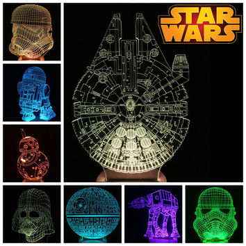 Star Wars 3D LED Color Changing Desk Light BB-8 AT-AT Death Star / Millennium Falcon / Darth Vader / Stromtrooper / R2D2