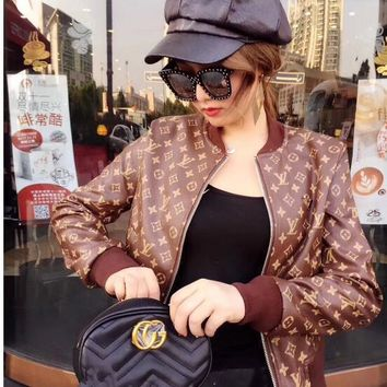 LV spring and autumn new long-sleeved Slim motorcycle leather jacket womens tide