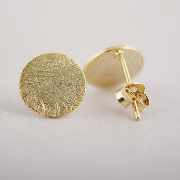 2015 New fashion jewelry gold silver pink cc Circle stud Earrings Simple Tiny round Stud ED013