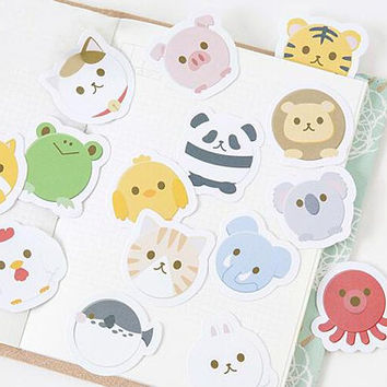 15 Kawaii Animal Stickers - Planner Stickers - Bakery - Bullet Journal - Scrapbooking
