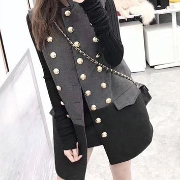 ESBONS Dior' Women Temperament Fashion Multicolor Sleeveless Double Row Buttons Cardigan Middle Long Section Wool Vest Jacket Coat