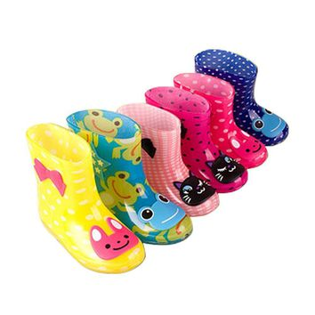 Girls Outdoors Shoes Spring with Frog Cat Rabbit Rain Boots Waterproof