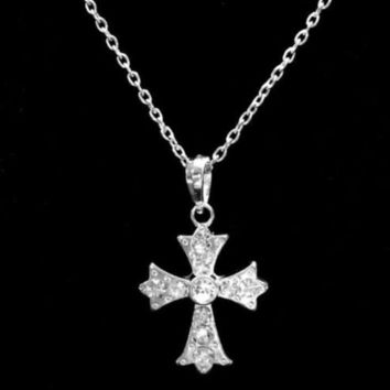 Crystal Rhinestone Cross Christian Religious God Faith Necklace