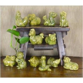 Chinese Ceramic Zodiac Animal Statues Set of 12 from JL Rocken