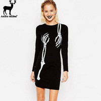 Sexy Club Dress 2016 Women Black Punk Rock Hip Hop Dress Women Long Sleeve Skeleton Hand Printed Hiphop Gothic clubwear Dresses