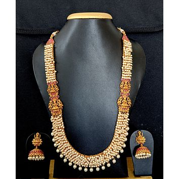 Goddess Lakshmi pearl cluster bead Long Haram Traditional Necklace and earring set