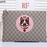 Truym : GUCCI female cute cartoon print fashionable leather clutch bag B-RF-PJ pink