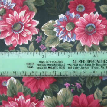 2 Yards Floral Cotton Blend Fabric Pink Black Green Spring Industries 2 yd Swatch Fabric