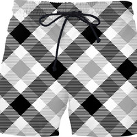 Black and white tartan pattern men swim shorts, classic pants