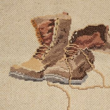 Finished Embroidery Old Boots | Finished Cross Stitch Hiking Boots | Boots Embroidery on Flecked Ecru Fabric | Farmhouse Country