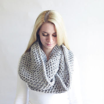 Gray Oversized Infinity Scarf Crochet Womens Oversized Scarf Marble Taupe Griege Scarf Thick Chunky Infinity Circle Cowl Scarf