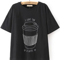 I Love You A Latte Graphic Print Black T-Shirt